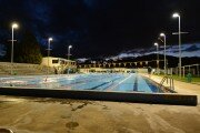Heated Outdoor 50 metre Pool at night